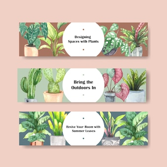 Summer plants header template design