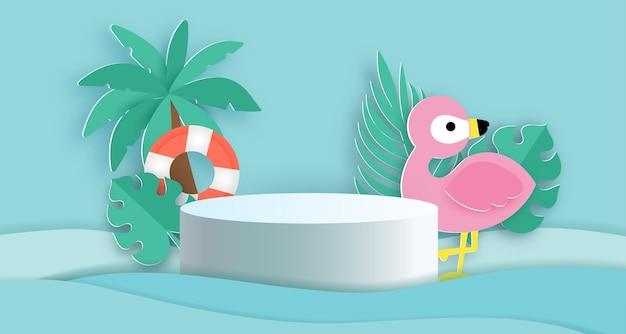 Летний подиум для изделия с тропическим фламинго и элементами лета