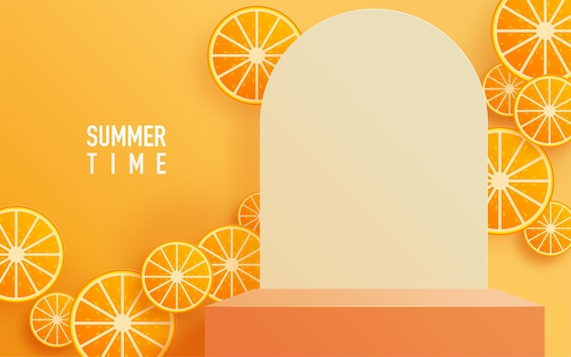 傘とオレンジの夏の表彰台