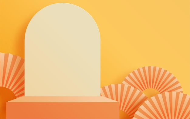 傘とオレンジの夏の表彰台 Premiumベクター