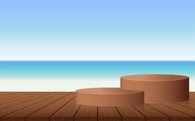 海の木製ボードの夏の表彰台