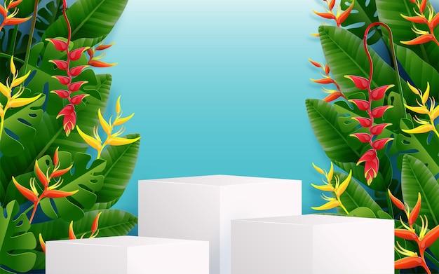 カラフルな熱帯の花々と夏の表彰台