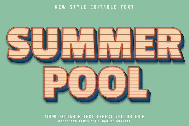 Редактируемый текстовый эффект летний бассейн с тиснением в винтажном стиле