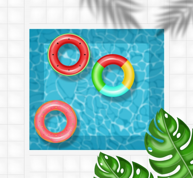 Summer pool and life ring