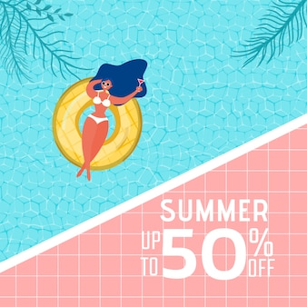 Summer pool party advertising design with girl on rubber ring.
