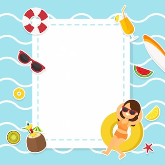 Summer pool party for background frame decorated with accessories and activity beach