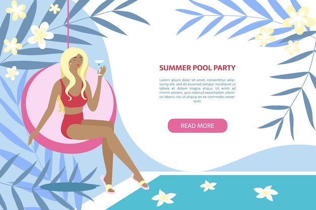 Summer pool party banner.woman sitting with coctail near swimming pool