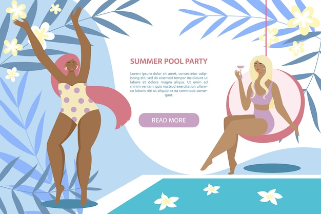 Summer pool party banner. women near swimming pool with leaves