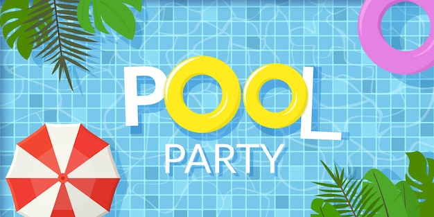 Summer pool party horizontal flat design