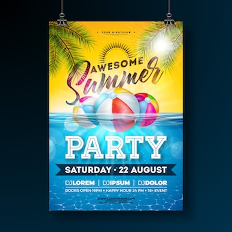 Summer pool party poster design template with palm leaves and beach ball on blue underwater ocean background. holiday illustration for banner, flyer, invitation, poster.