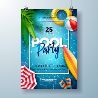Summer pool party poster design template with palm leaves and beach ball