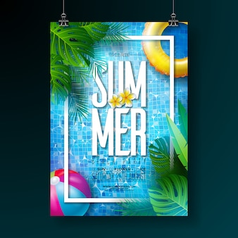 Summer pool party poster design template with pool water