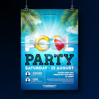 Summer pool party poster design template with water