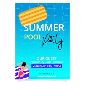 Summer pool party poster template