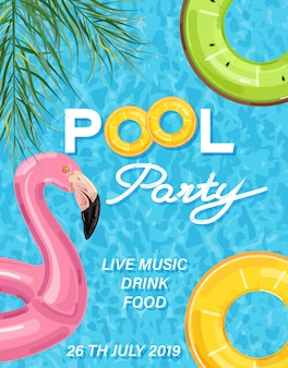 Summer pool party poster with flamingo