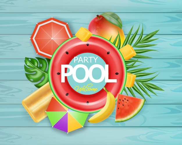 Summer pool tropic fruits card