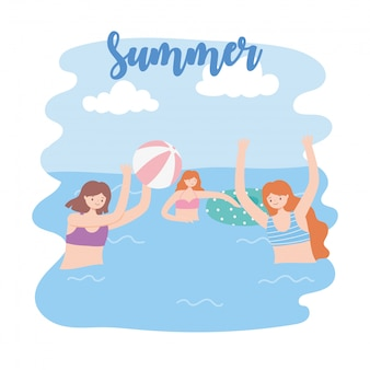 Summer pool with girls and inflatable, playing ball