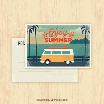Summer postcard in retro style
