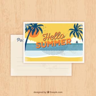 Summer postcard in vintage style