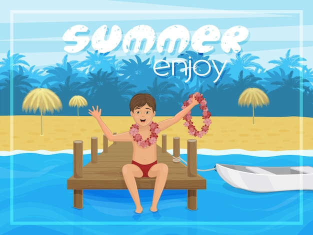 Летняя открытка с тропическим пейзажем и мальчиком. наслаждайтесь летом. мультяшном стиле