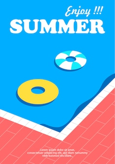 Summer poster and banner with swimming pool background