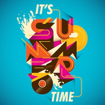 Summer poster design with abstract typography