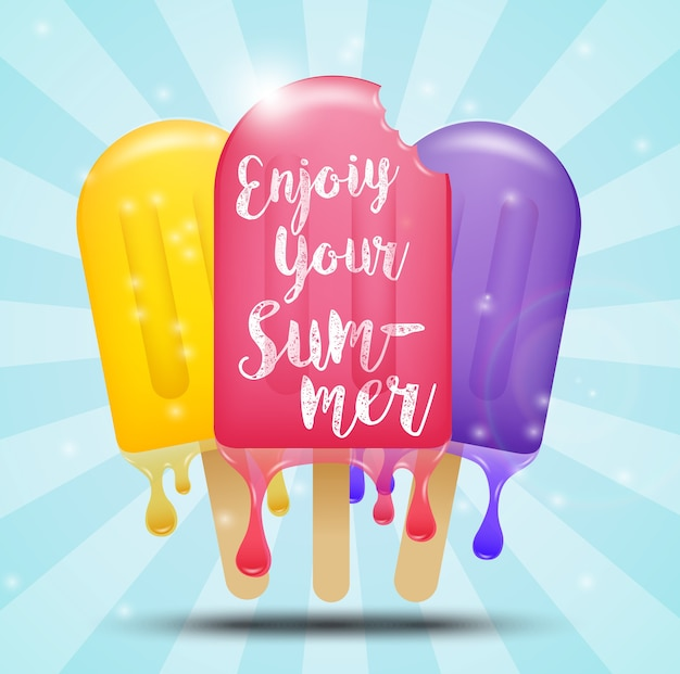 Summer poster design with colorful popsicle