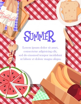 Summer poster design with tablecloth background