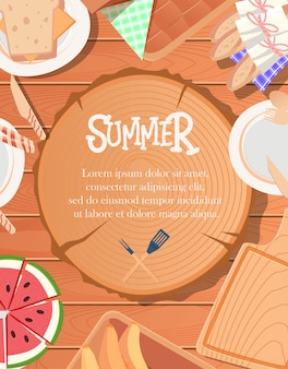 Summer poster design with wooden background