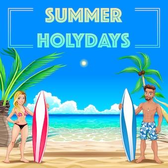 Летний плакат для праздников с серферами и морем векторная иллюстрация