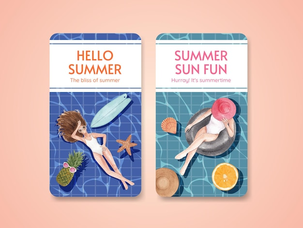Summer poster template with summer vibes