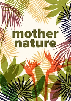 열대 우림이나 정글과 자연 텍스트에서 자라는 이국적인 식물과 나무의 반투명 단풍이있는 여름 포스터 템플릿