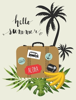 Summer poster with palm leaves.