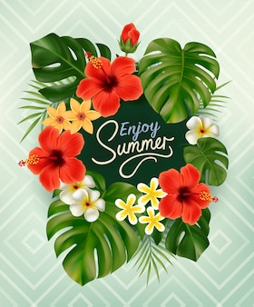 Summer poster with tropical palm leaf and flowers with handwriting lettering. summer tropical background. illustration