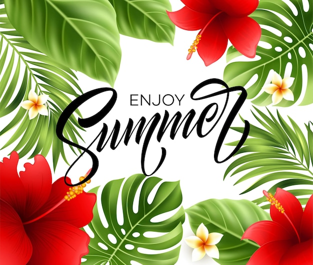 Summer poster with tropical palm leaf and handwriting lettering.