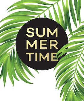 Summer poster with tropical palm leaf .