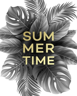 Summer poster with tropical palm leaf