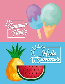 Summer poster with watermelon and icons