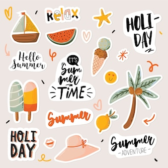 Summer print with cute holiday elements and lettering isolated