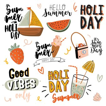 Summer print with cute holiday elements and lettering  on white background. hand drawn trendy style. . good for fabric , labels, tags, web, banner, poster, card, flyer