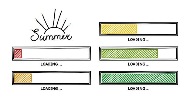 완료 상태와 함께 여름 진행 로드 바 인포 그래픽 디자인 요소