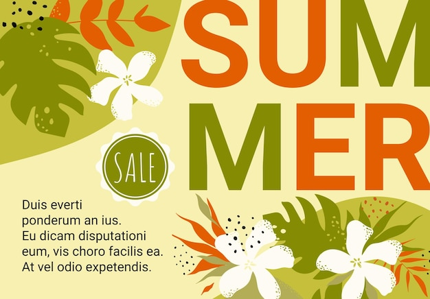 Summer promotion sale floral banner template green leaves flowers geometric shapes