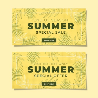 Summer promotional banner with yellow background