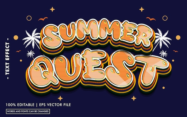 Summer quest text effect style