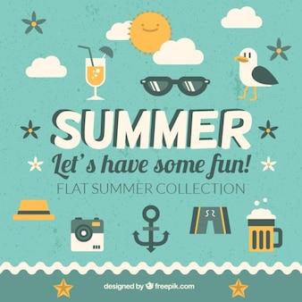 빈티지 디자인의 여름 인용