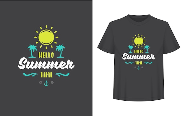 Summer quote or saying can be used for t-shirt, mug, greeting card, photo overlays, decor prints and posters. hello summer vibes message, vector illustration.
