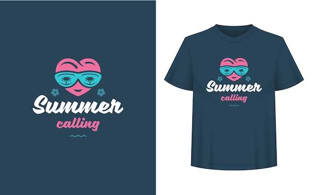 Summer quote or saying can be used for t-shirt, mug, greeting card, photo overlays, decor prints and posters. summer calling message, vector illustration.