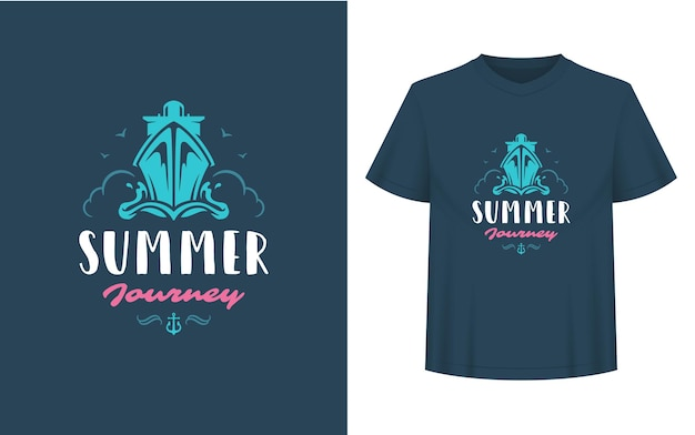 Summer quote or saying can be used for t-shirt, mug, greeting card, photo overlays, decor prints and posters. summer journey message, vector illustration.