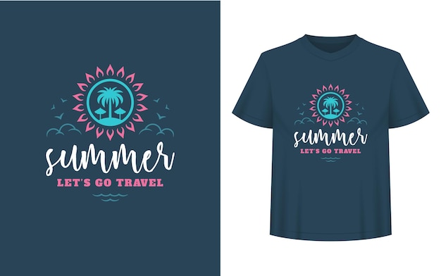 Summer quote or saying can be used for t-shirt, mug, greeting card, photo overlays, decor prints and posters. summer lets go travel message, vector illustration.