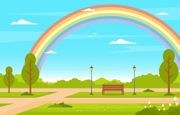 夏の虹緑の自然フィールド土地空の風景イラスト